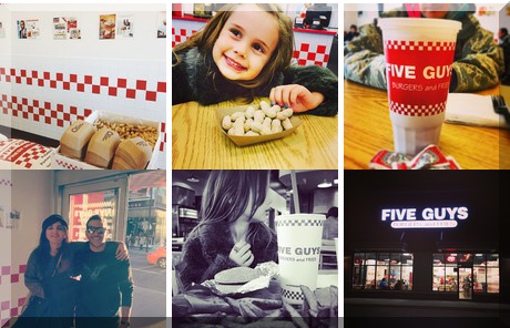 Five Guys collage of popular photos