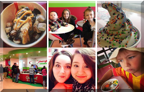 CherryBerry Self-Serve Yogurt Bar collage of popular photos