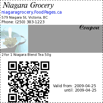 Niagara Grocery  Coupon. 2 for 1 Niagara Blend Tea 50g