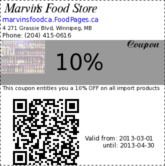 Marvin's Food Store 10% Coupon. This coupon entitles you a 10% OFF on all import products