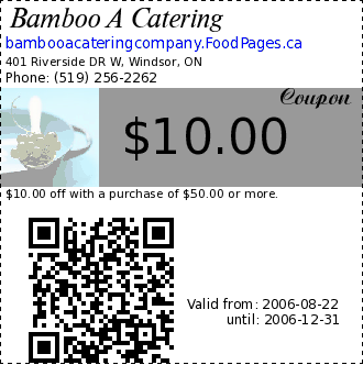 Bamboo A Catering $10.00 Coupon. $10.00 off with a purchase of $50.00 or more.