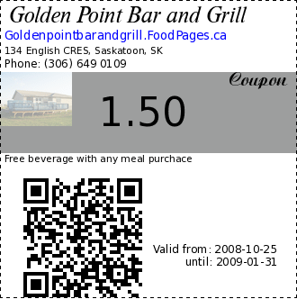 Golden Point Bar and Grill 1.50 Coupon. Free beverage with any meal purchace