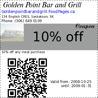 Golden Point Bar and Grill 10% off Coupon. 10% off any meal purchase