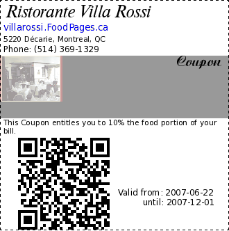 Ristorante Villa Rossi  Coupon. This Coupon entitles you to 10% the food portion of your bill.