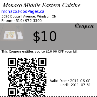 Monaco Middle Eastern Cuisine $10 Coupon. This Coupon entitles you to $10.00 OFF your bill.