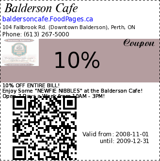 Balderson Cafe 10% Coupon. 10% OFF ENTIRE BILL! 