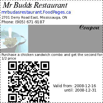 Mr Buda's Restaurant  Coupon. Purchase a chicken sandwich combo and get the second for 1/2 price