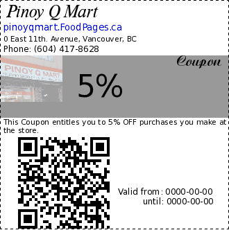 Pinoy Q Mart 5% Coupon. This Coupon entitles you to 5% OFF purchases you make at the store.