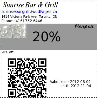 Sunrise Bar & Grill 20% Coupon. 20% off
