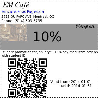 EM Café 10% Coupon. Student promotion for January!!! 10% any meal item ordered with student ID