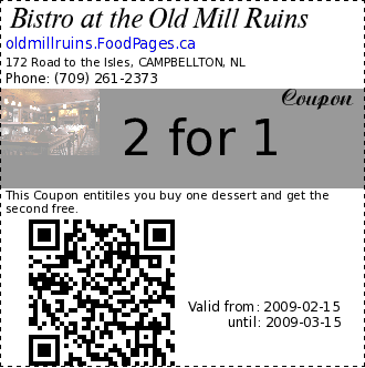 Bistro at the Old Mill Ruins 2 for 1 Coupon. This Coupon entitiles you buy one dessert and get the second free.