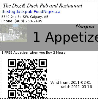 The Dog & Duck Pub and Restaurant 1 Appetizer Coupon. 1 FREE Appetizer when you Buy 2 Meals