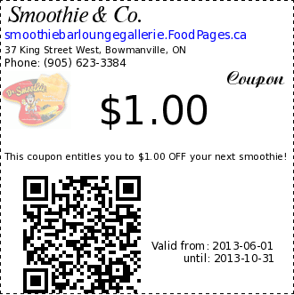 Smoothie & Co. $1.00 Coupon. This coupon entitles you to $1.00 OFF your next smoothie!