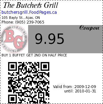 The Butcher's Grill 9.95 Coupon. BUY 1 BUFFET GET 2ND ON HALF PRICE