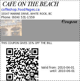 CAFE ON THE BEACH  Coupon. THIS COUPON GIVES 15% OFF THE BILL