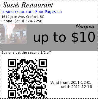 Susie's Restaurant up to $10 Coupon. Buy one get the second 1/2 off