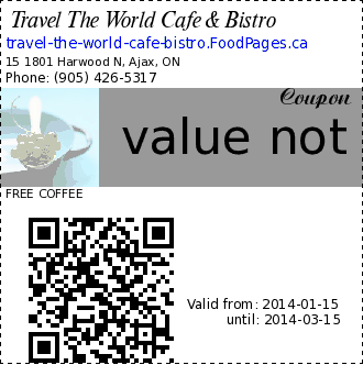 Travel The World Cafe & Bistro value not exceed $2.50 Coupon. FREE COFFEE