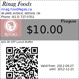 Rinag Foods $10.00 Coupon. $10.00 OFF Lunch Buffet