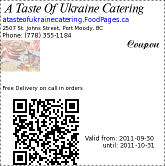 A Taste Of Ukraine Catering  Coupon. Free Delivery on call in orders