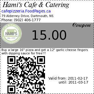 Hami's Cafe & Catering 15.00 Coupon. Buy a large 16