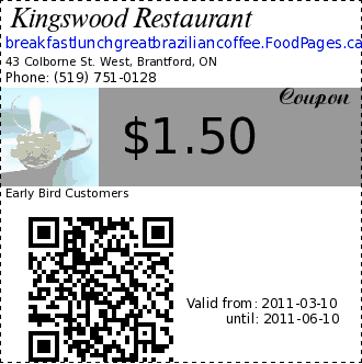 Kingswood Restaurant $1.50 Coupon. Early Bird Customers