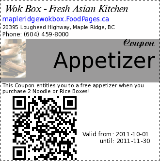 Wok Box - Fresh Asian Kitchen Appetizer Coupon. This Coupon entitles you to a free appetizer when you purchase 2 Noodle or Rice Boxes!