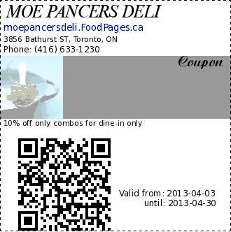 MOE PANCERS DELI  Coupon. 10% off only combos for dine-in only