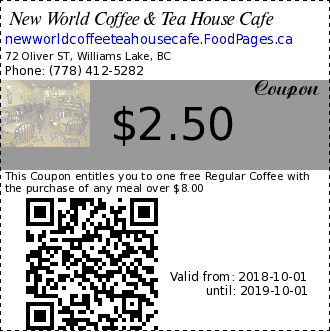 New World Coffee & Tea House Cafe $2.14 Coupon. This Coupon entitles you to one free Regular Coffee with the purchase of any meal over $5.00