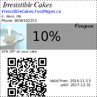 Irresistible Cakes 10% Coupon. 10% OFF on your cake