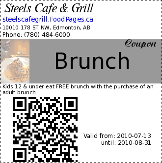 Steels Cafe & Grill Brunch Coupon. Kids 12 & under eat FREE brunch with the purchase of an adult brunch.