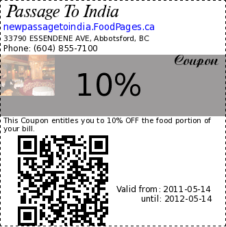Passage To India 10% Coupon. This Coupon entitles you to 10% OFF the food portion of your bill.