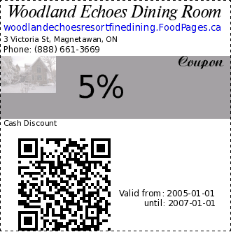 Woodland Echoes Dining Room 5% Coupon. Cash Discount