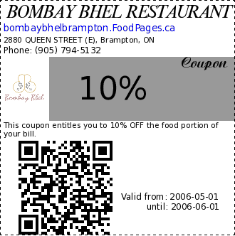 BOMBAY BHEL RESTAURANT 10% Coupon. This coupon entitles you to 10% OFF the food portion of your bill.